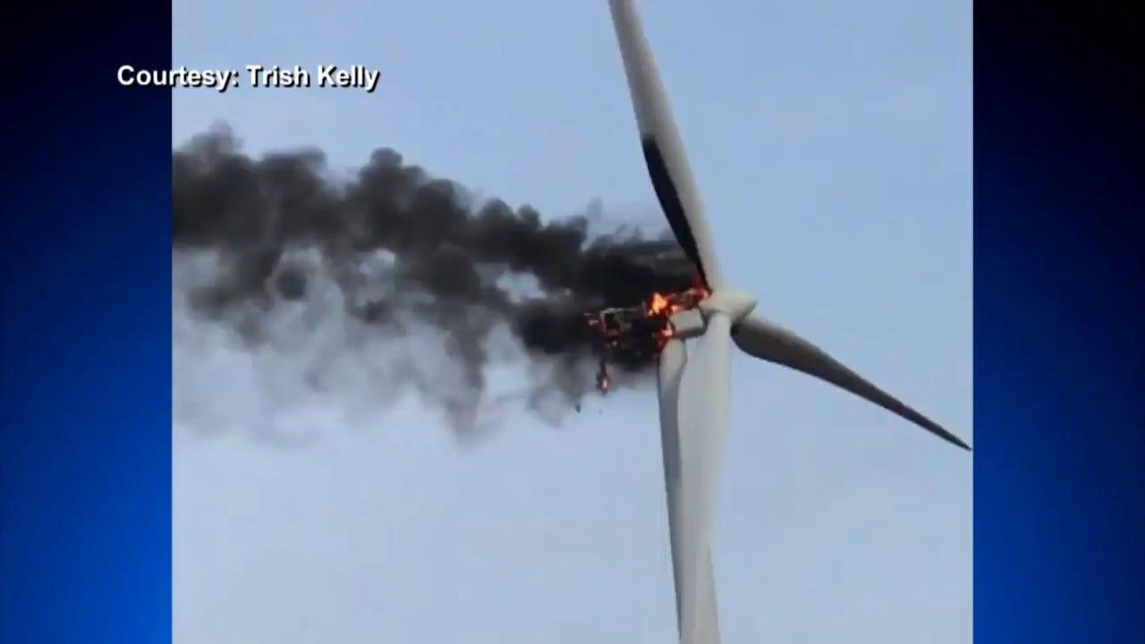 Caught On Camera: Wind Turbine Catches Fire