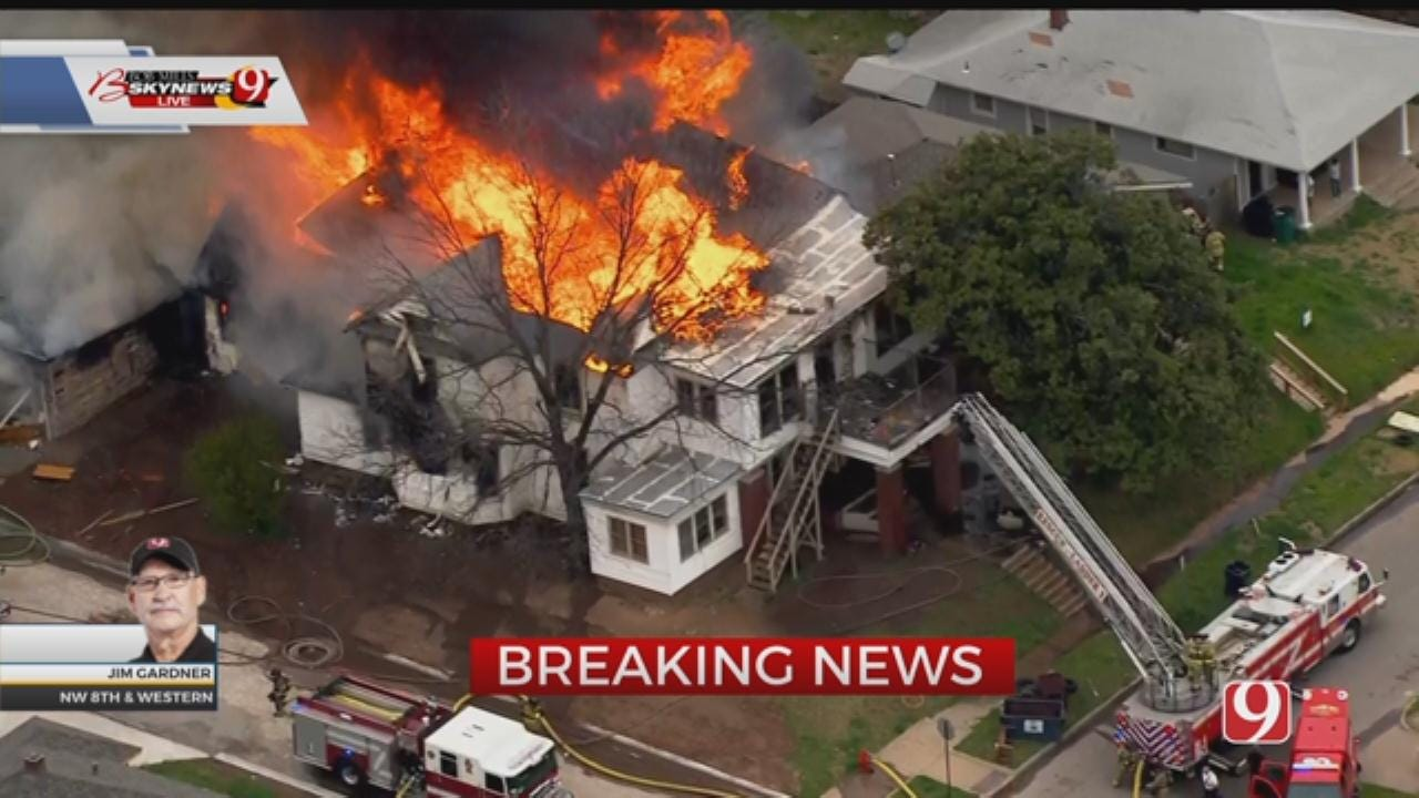 Bob Mills SkyNews 9 Flies Over Large House Fire In NW OKC