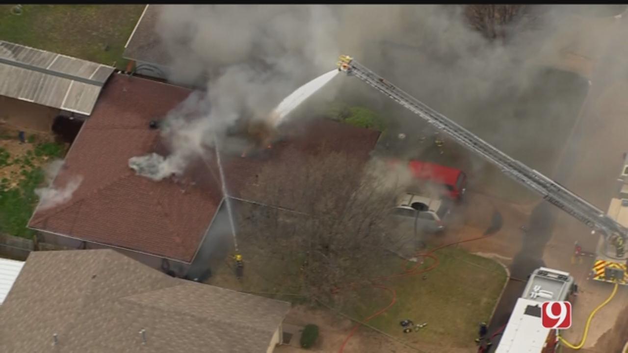 Firefighters Battle House Fire In Bethany