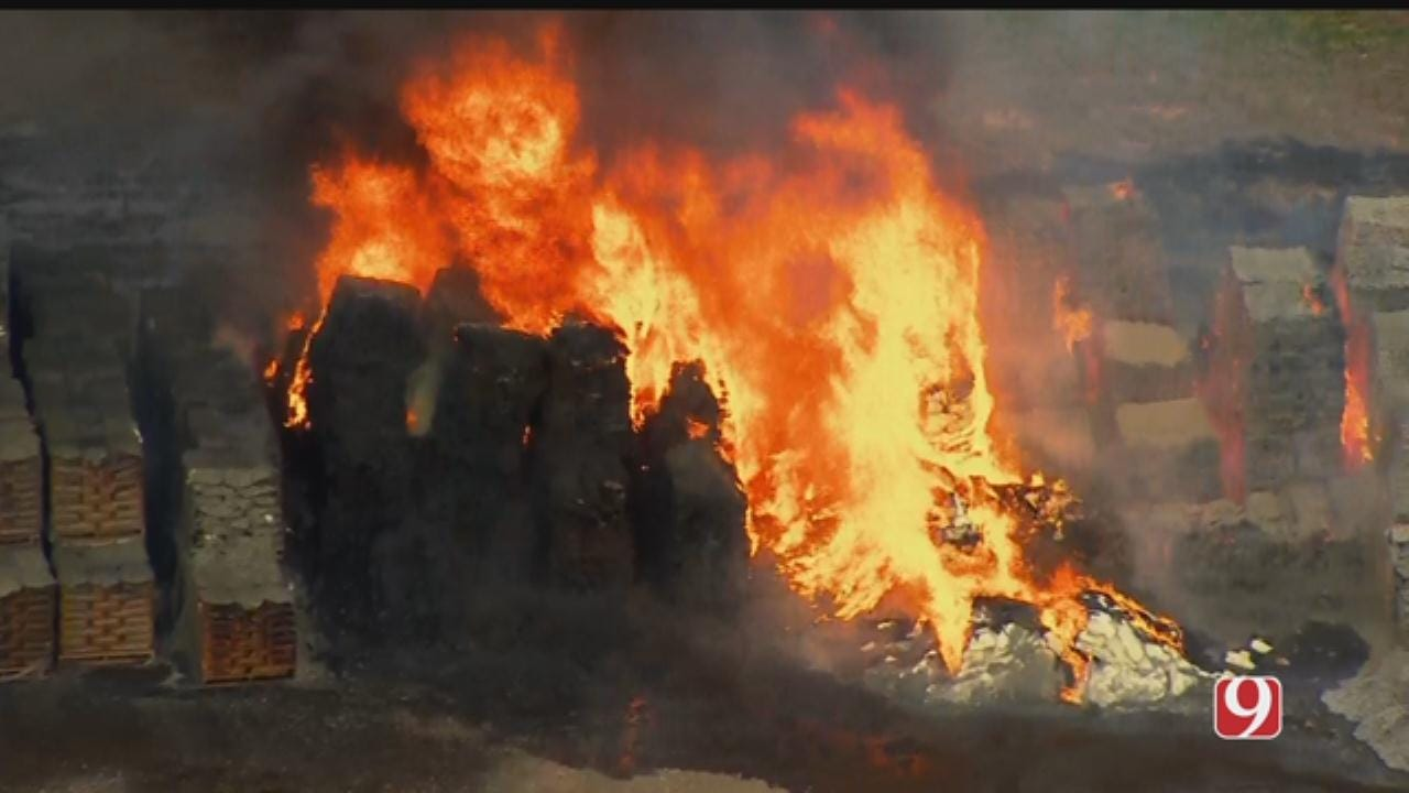 Bob Mills SkyNews 9 Flies Over Fire At Chickasha Company