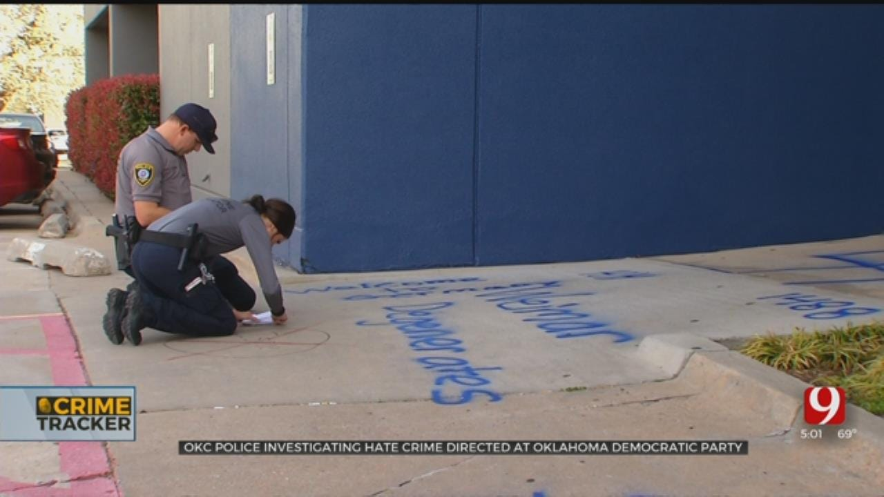 State, Community Leaders React To Racist Graffiti Painted On Okla. Democratic Party Headquarters