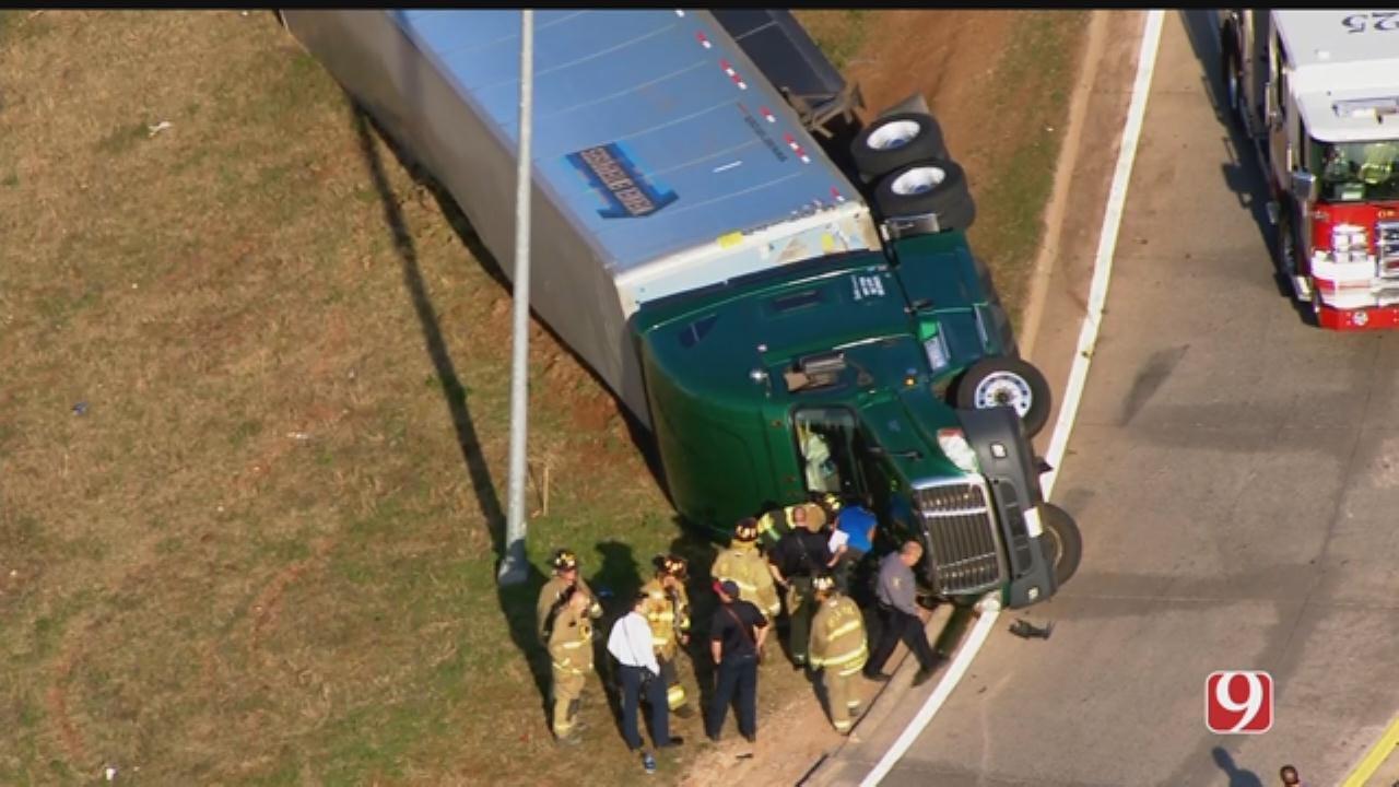 Bob Mills SkyNews 9 Flies Over Semi Rollover In SW OKC