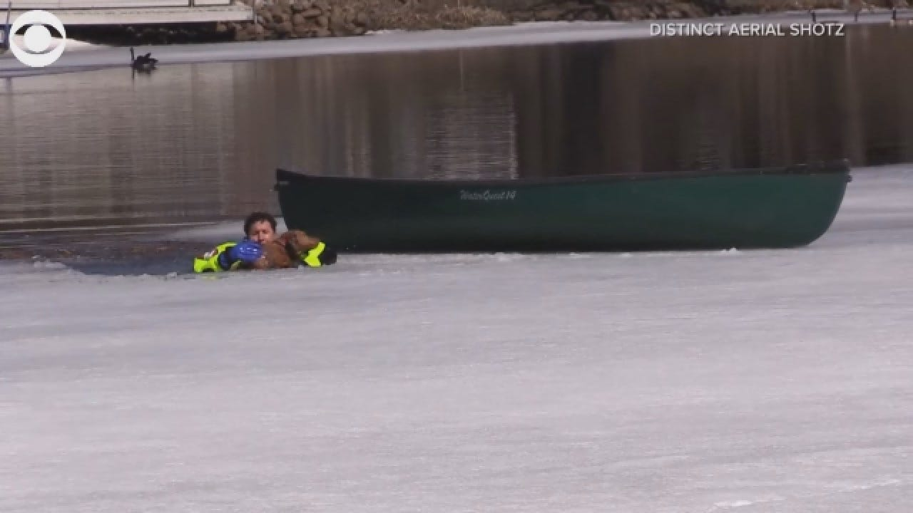 Dog Rescued From Icy Water