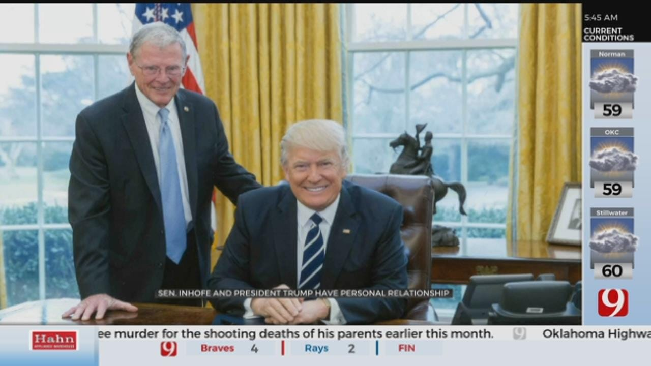 'He'll Call': Inhofe's Friendship With President Trump Lifts Oklahomans To Power