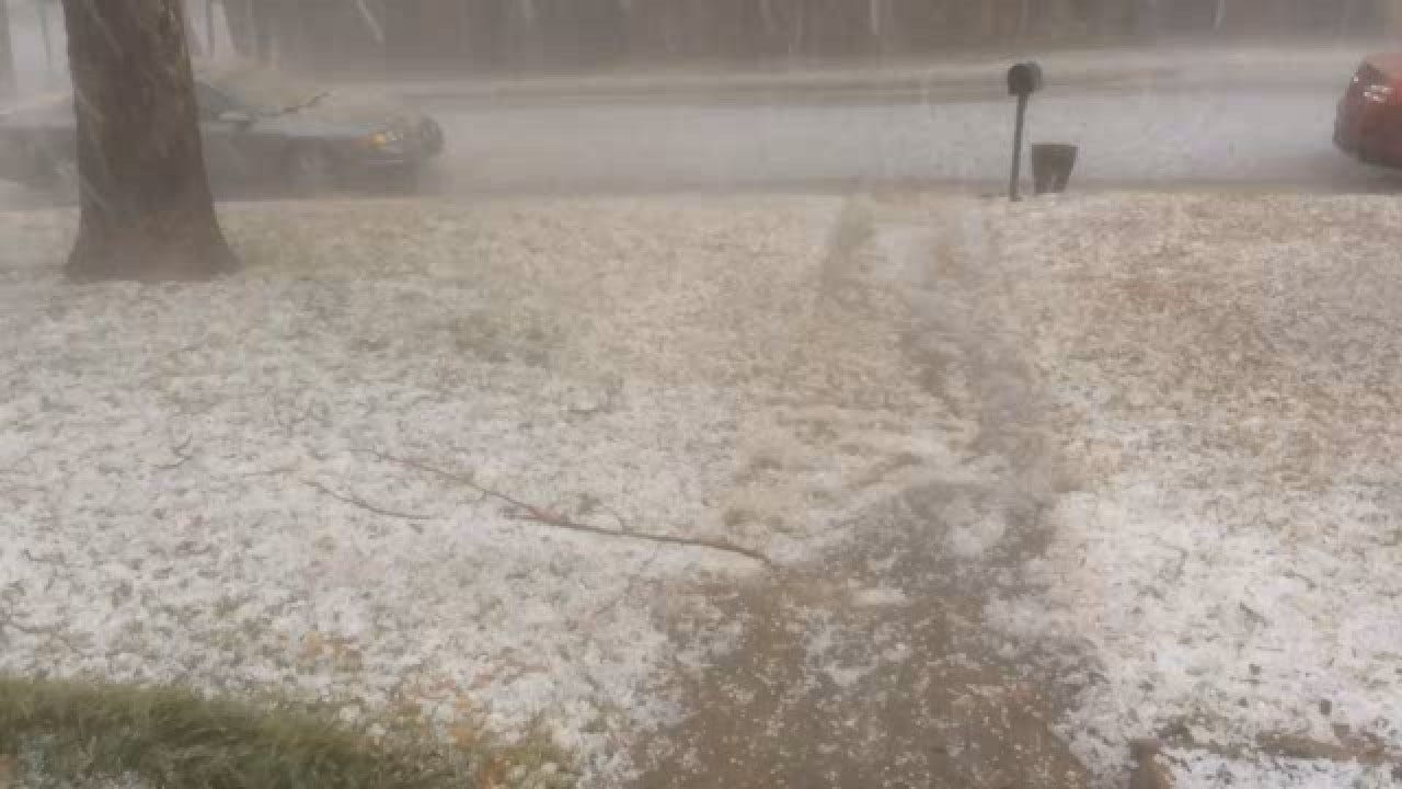 Viewer Video: Hail Looks Like Snow On South Side Of Edmond