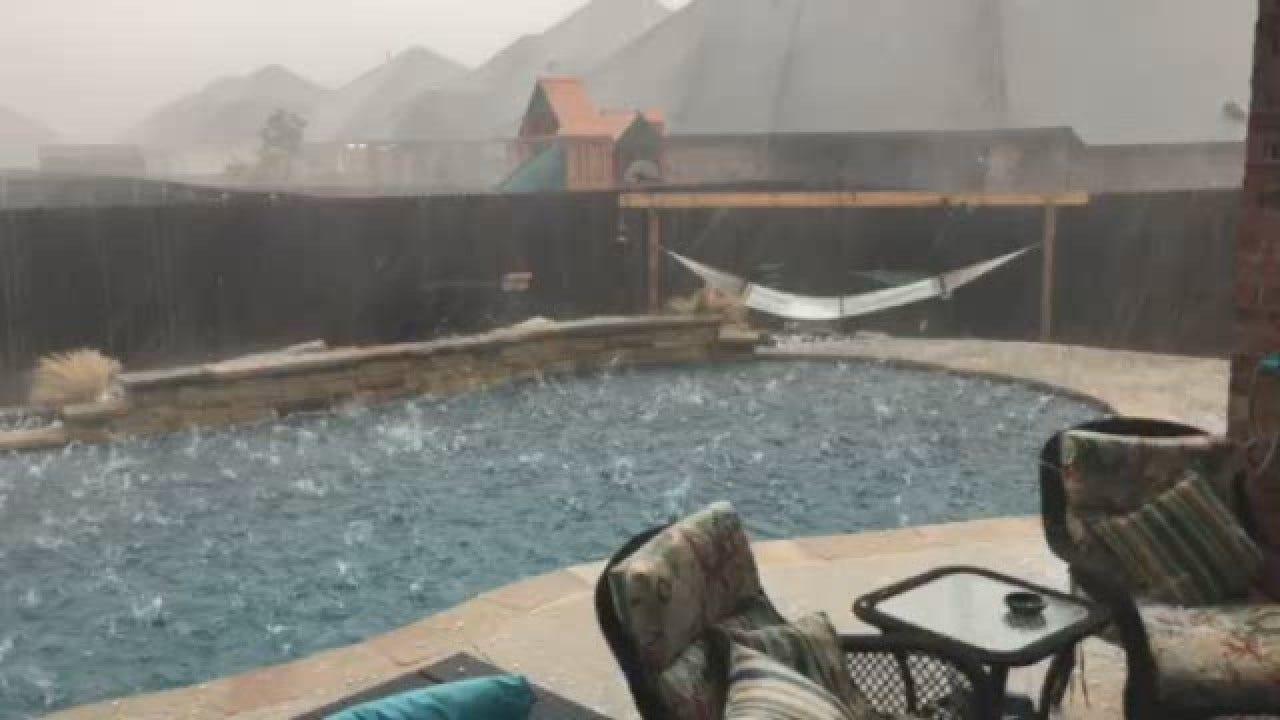 WATCH: Hail Storm Wallops Swimming Pool In Edmond, Okla.