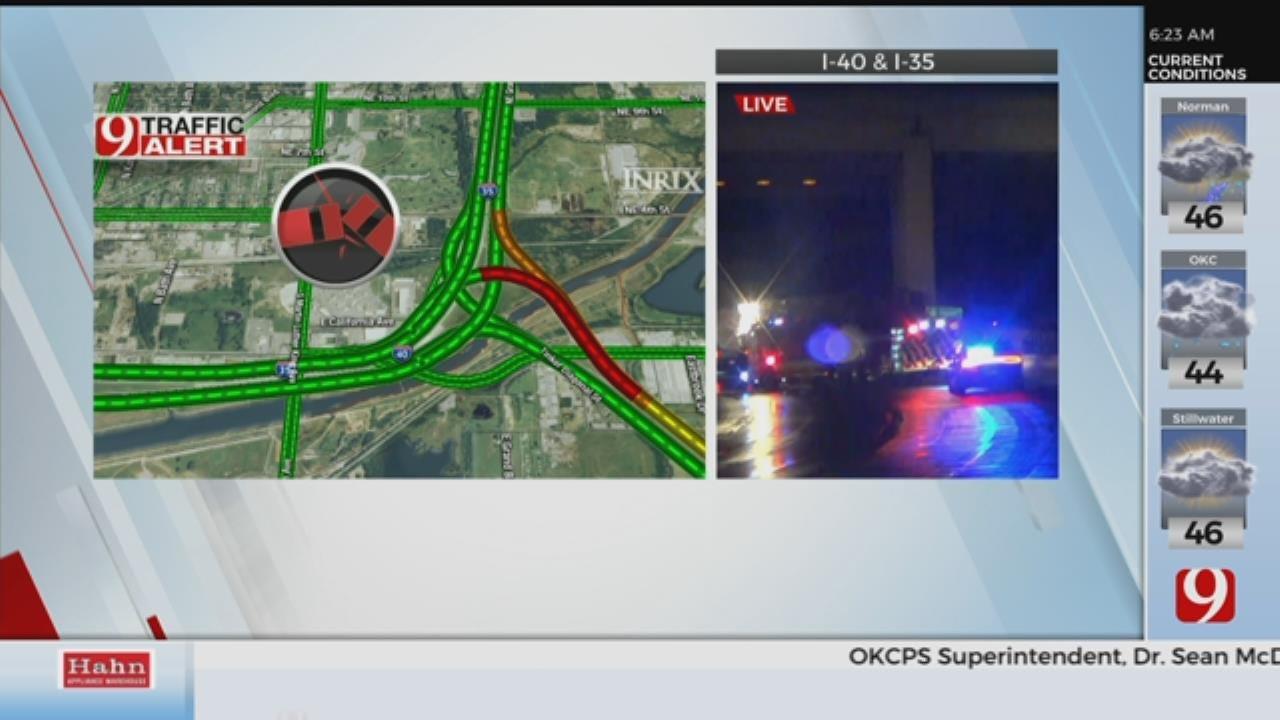 TRAFFIC ALERT: Semi Rollover Causes Backup On I-40 At I-35