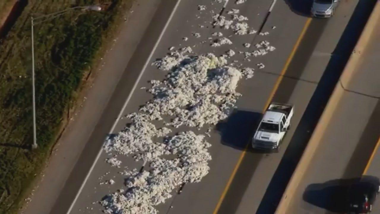 Bob Mills SkyNews 9 Flies Over Cotton Bale Falls From Semi In Edmond