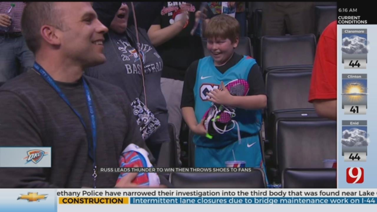 Russ Leads Thunder To Win Then Throws Shoes To Fans