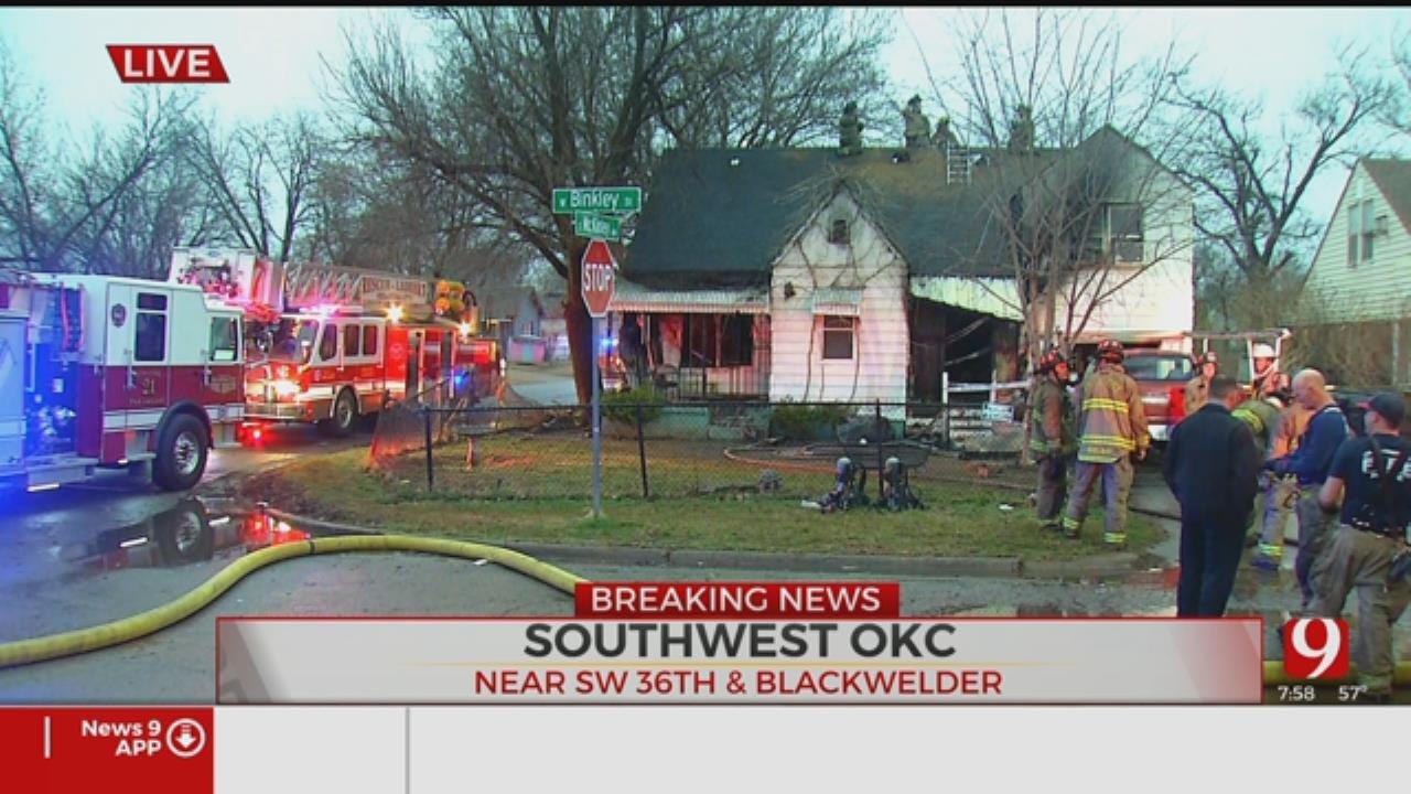 Firefighters Battle SW Oklahoma City House Fire
