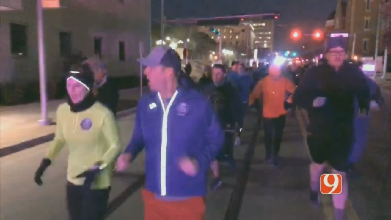 Gov. Stitt Runs After Issuing Relay Challenge For OKC Memorial Marathon