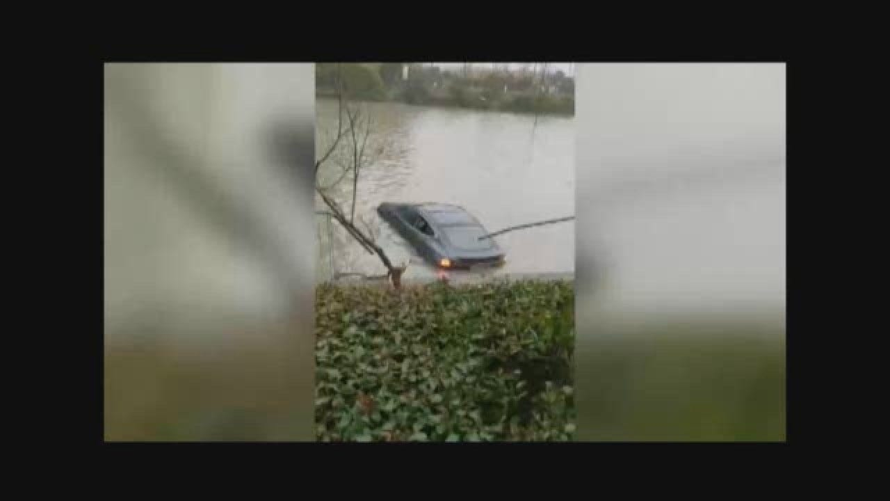 Motorist Drives Tesla Into River In China