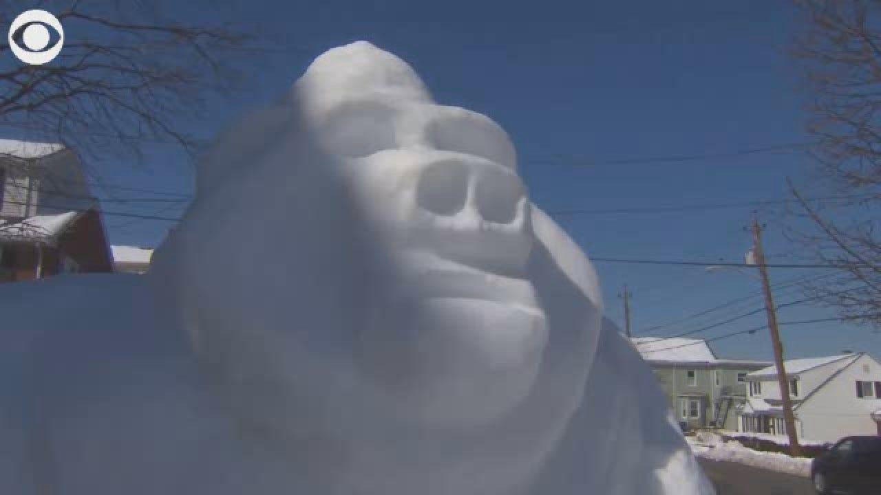 Massachusetts Man Creates Snow Gorilla