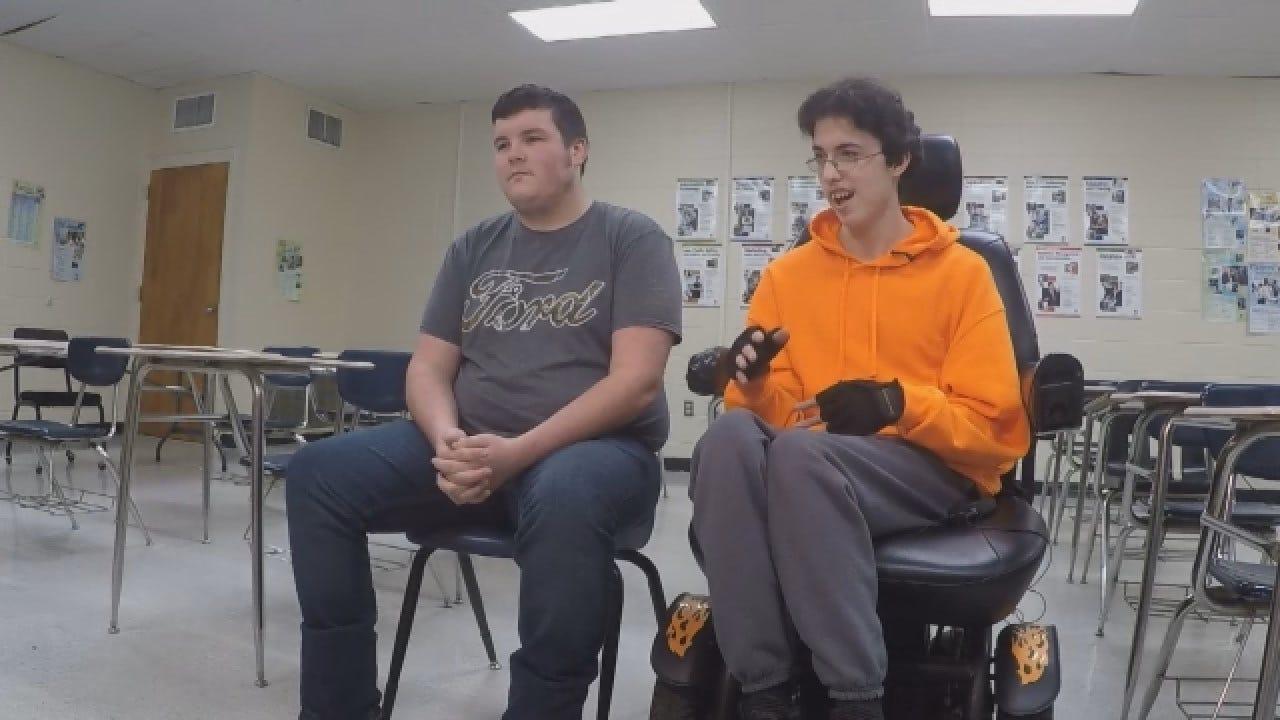 Teenage Boy Buys Friend Electric Wheelchair
