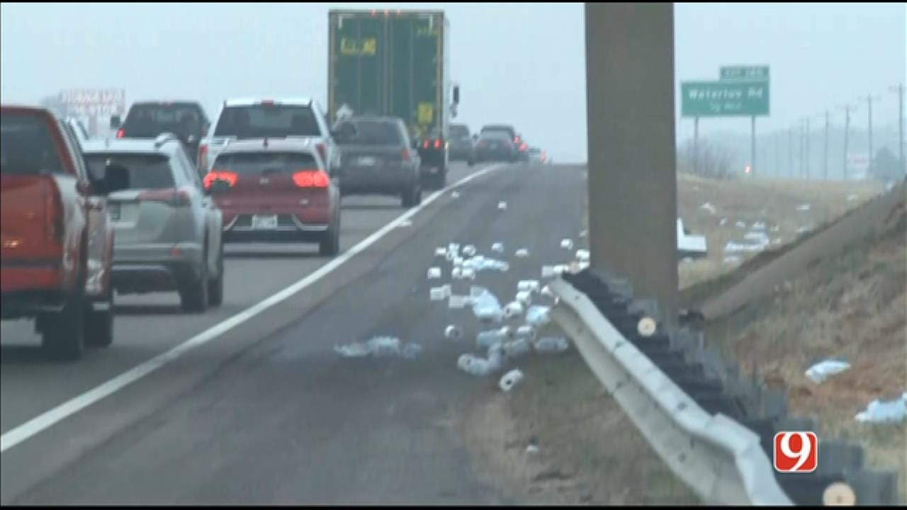 WATCH: Toilet Paper Spill Backs Up Northbound I-35 Near Sorghum Mill Road