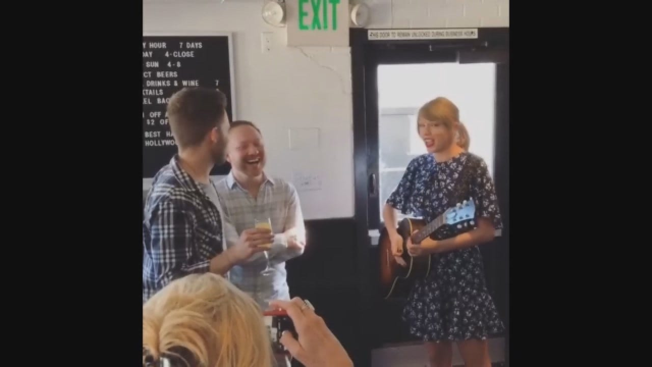 Taylor Swift Drops By To Perform At Couple's Engagement Party