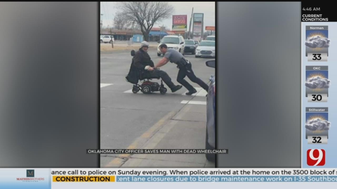 OKC Officer Pushes Man With Dead Wheelchair To Safety