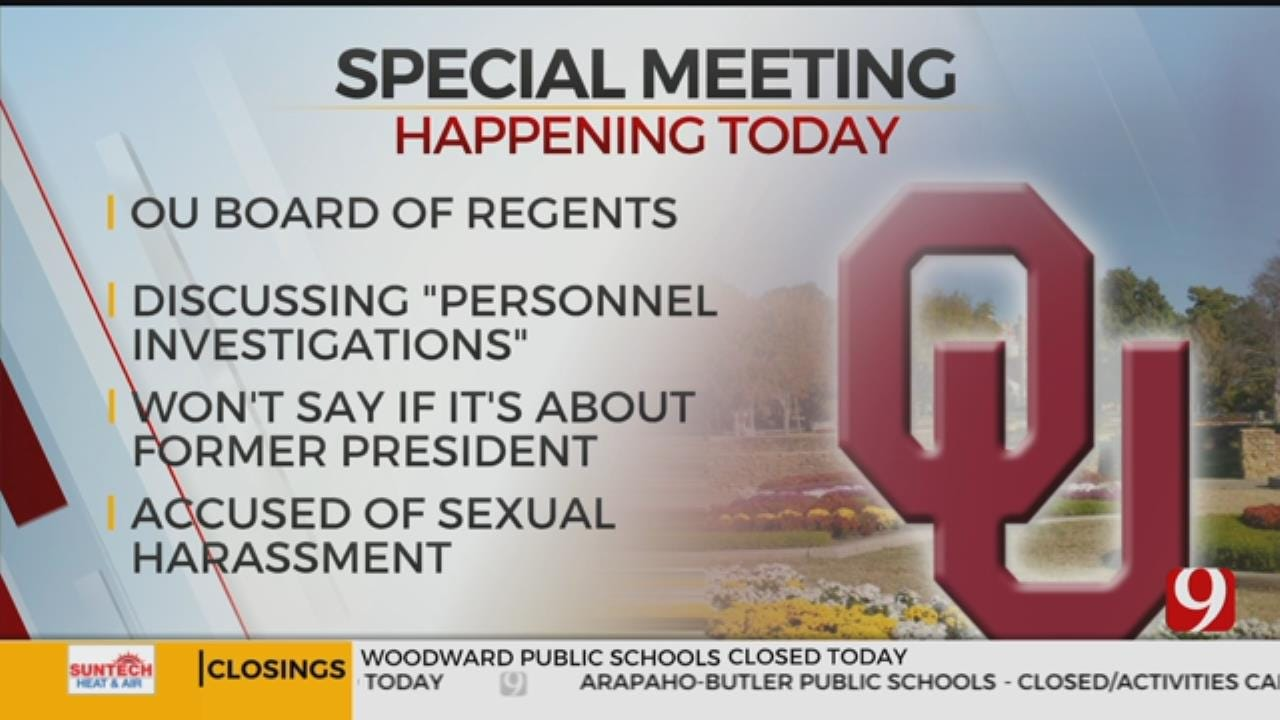University Of Oklahoma Regents To Discuss 'Personnel Investigation'