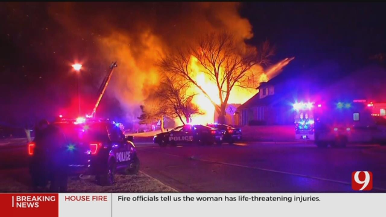 2 Hospitalized As Firefighters Battle Large House Fire In NW OKC