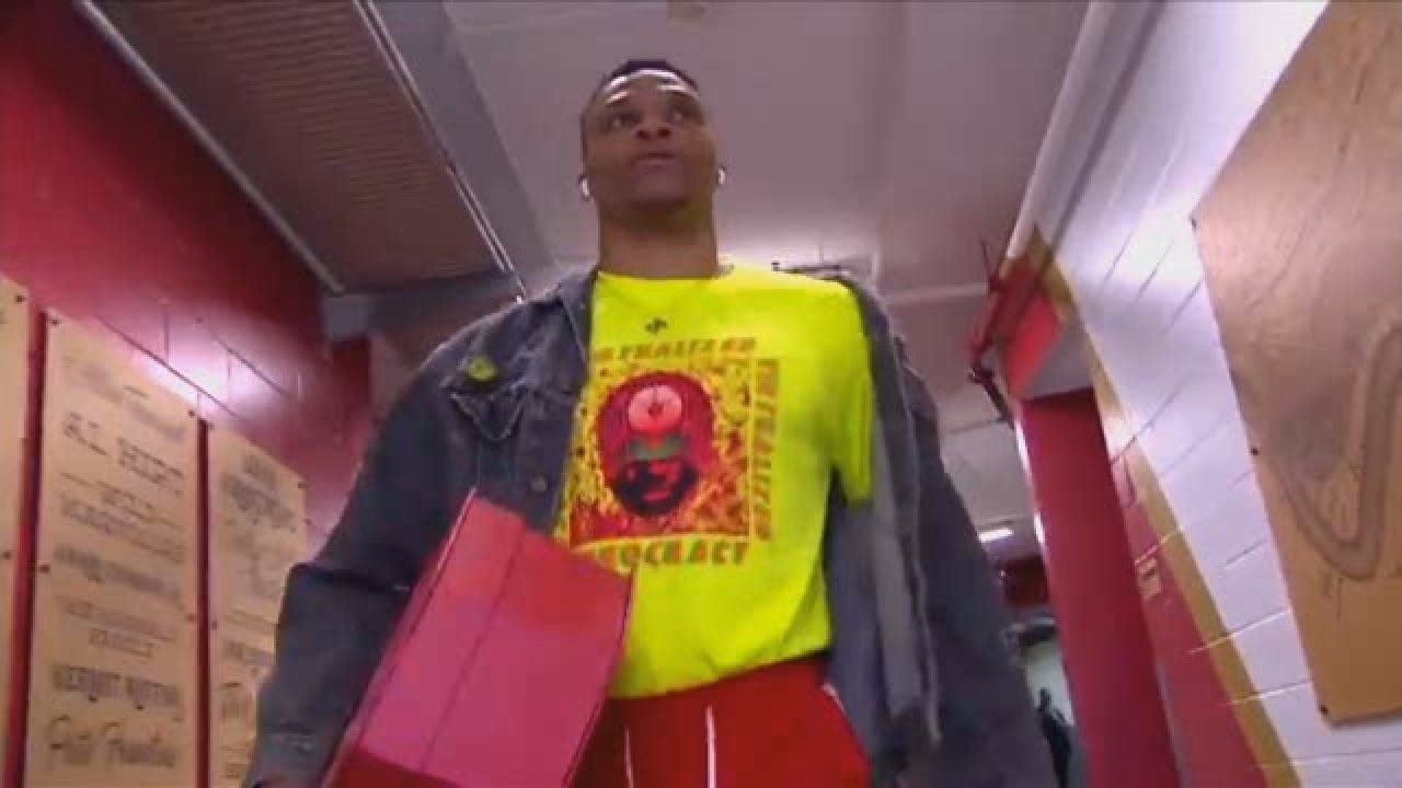 Westbrook Decked Out In Valentine's Red Ahead Of Pelicans Game