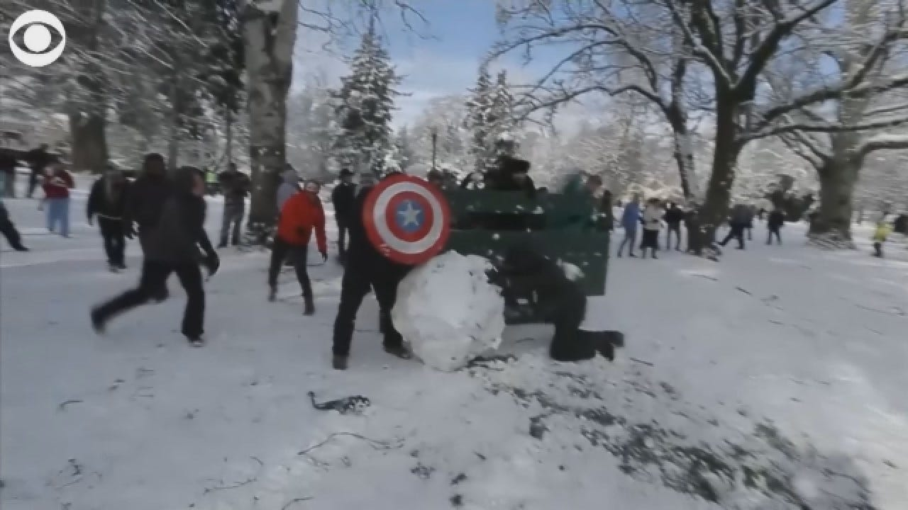 Hundreds Participate In Public Snow Ball Fight