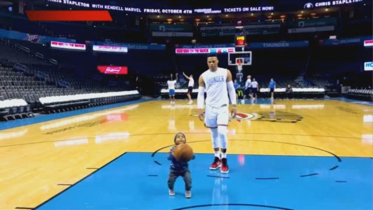 WATCH: Westbrook Has A Shootaround With Lil' Westbrook