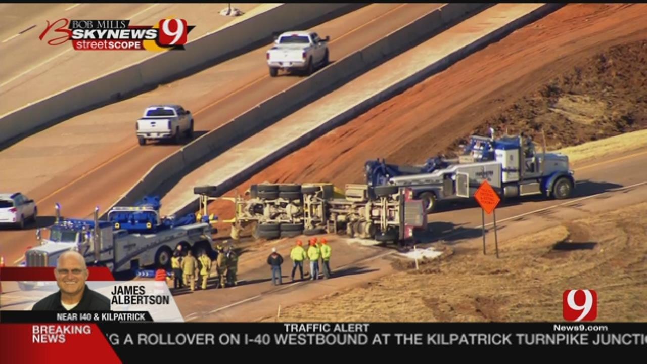 WATCH: Crews Respond To Cement Truck Rollover On Westbound I-40