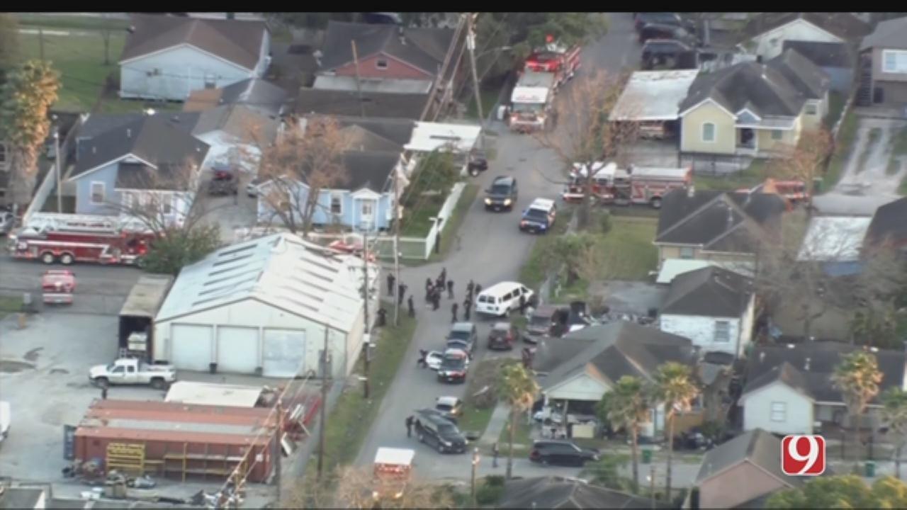 Aerials: 5 Houston Police Officers Shot In SE Houston