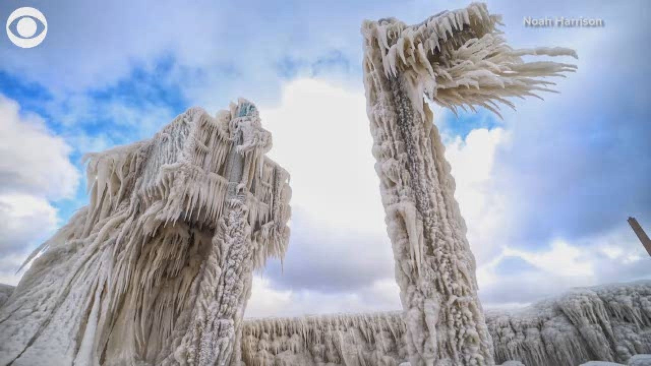 Ice Sculptures Formed Along Shore Of Lake Erie