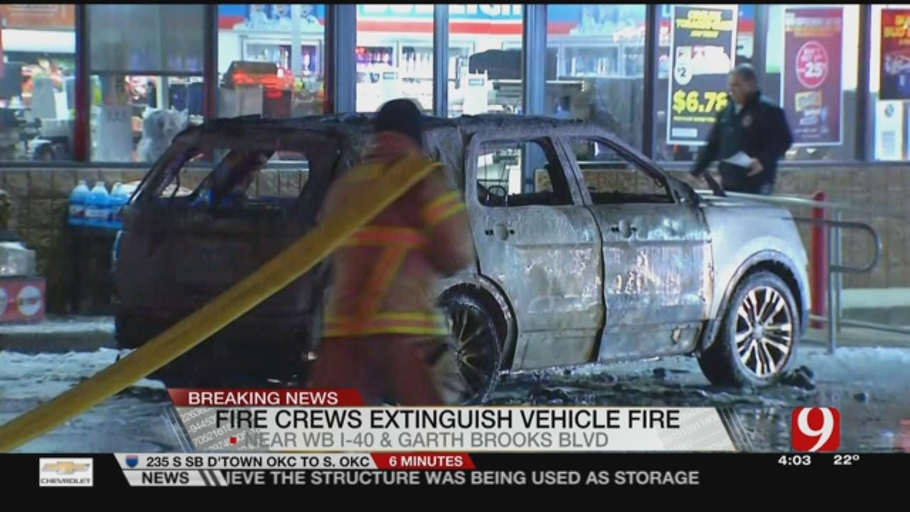 Firefighters Extinguish Vehicle Fire At Yukon Gas Station