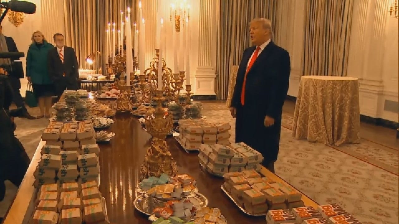 President Trump Serves Fast Food By Candlelight At White House For Clemson Football Team