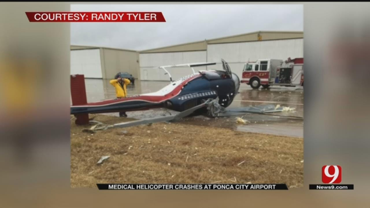 Helicopter Rolls Over At Ponca City Airport