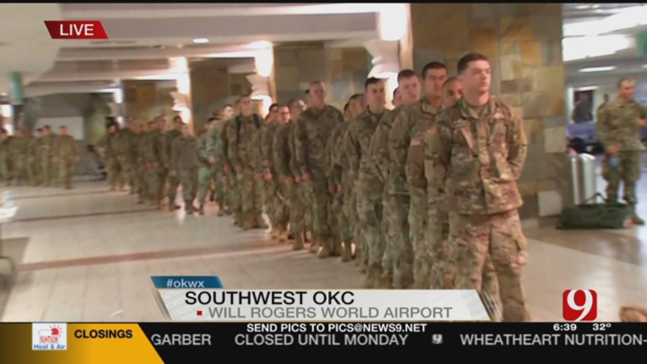 Soldiers Stuck At Will Rogers World Airport Due To Winter Weather