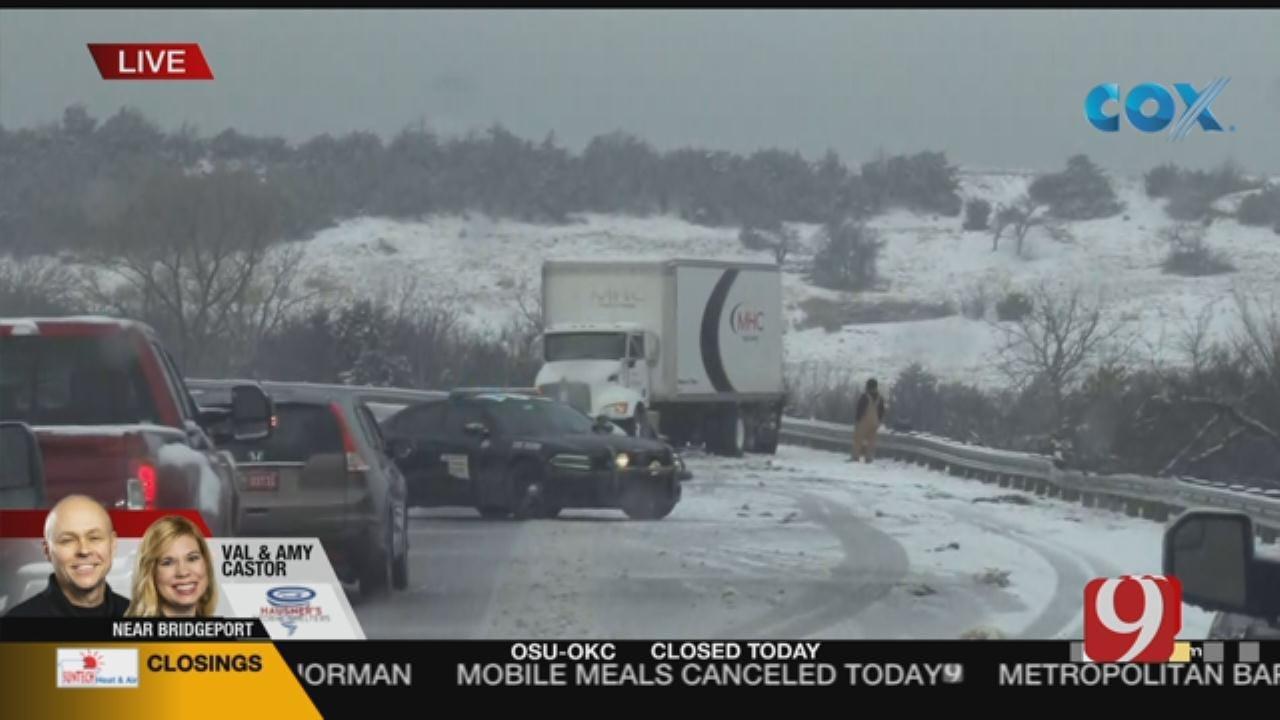Winter Weather: Wreck Along I-40 Near Watonga, Geary Exit