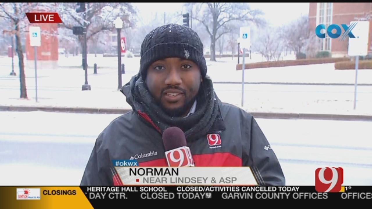 OU Campus In Norman A 'Winter Wonderland'