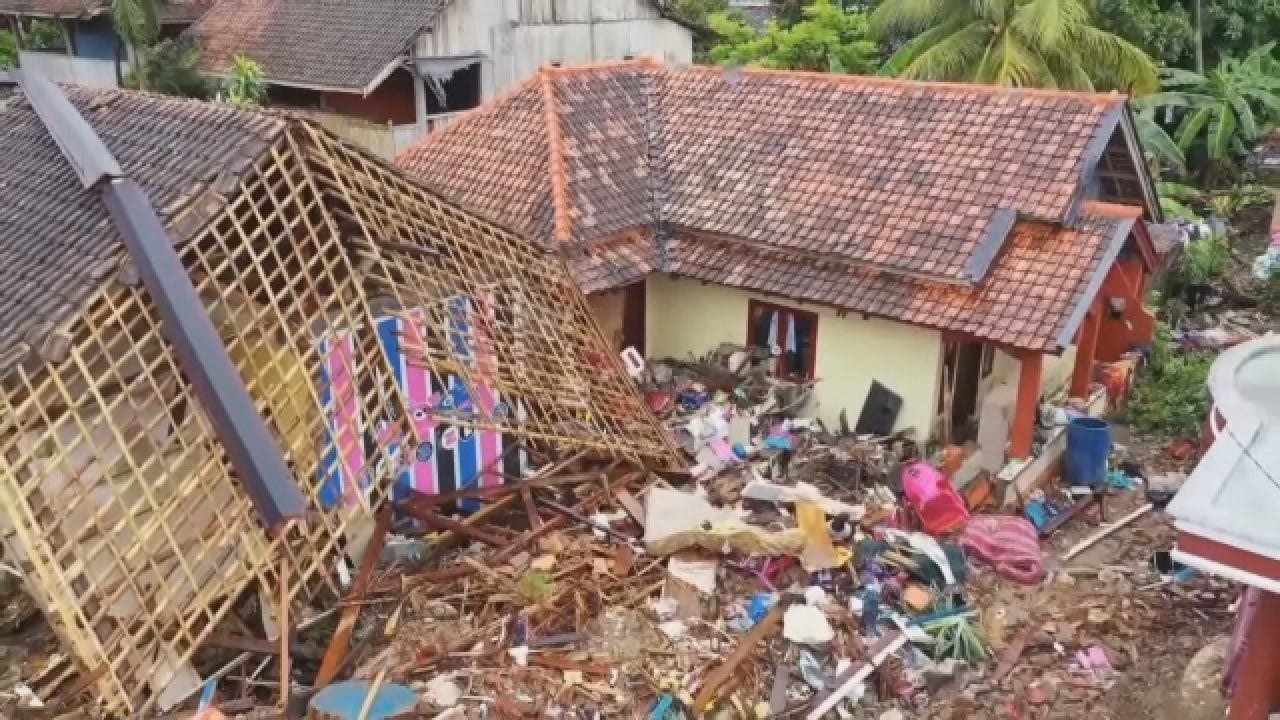 Aerial Footage Of Indonesia Tsunami Damage