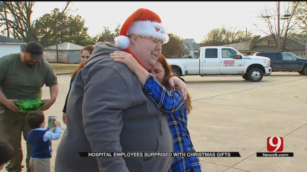 Non-Profit Surprises Prague, Drumright Hospital Employees' Families With Christmas Gifts