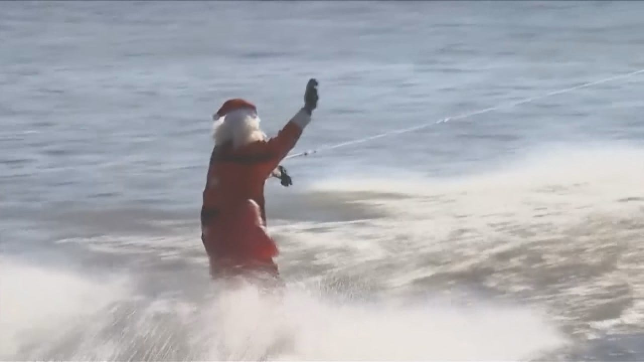 Santa, Elves Waterski On The Potomac River