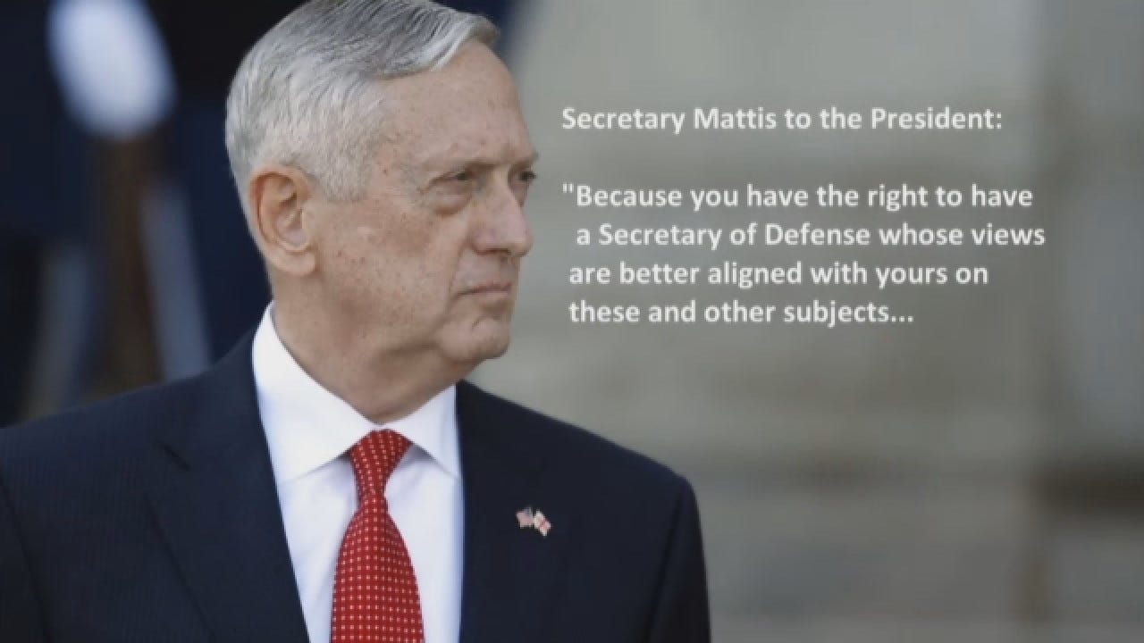 Defense Secretary Jim Mattis Resigns