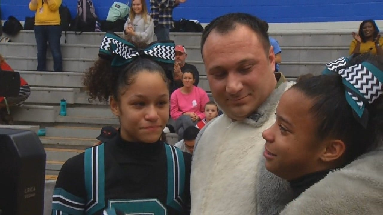Military Dad Surprises Twin Daughters