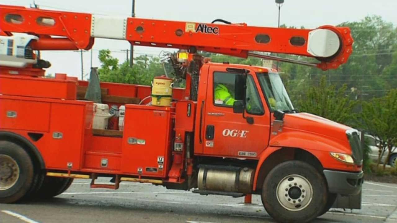OG&E Respond After Truck Crashes Into Power Pole