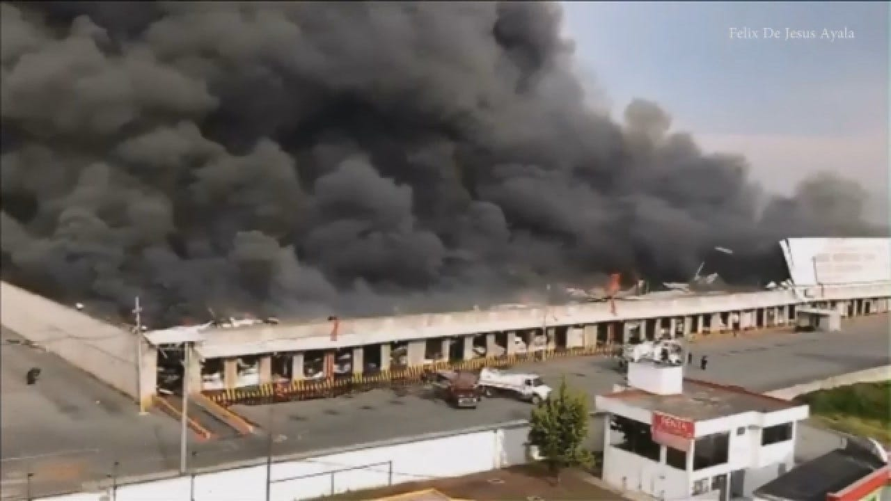 Huge Fire Burns At Fabric Warehouse In Mexico