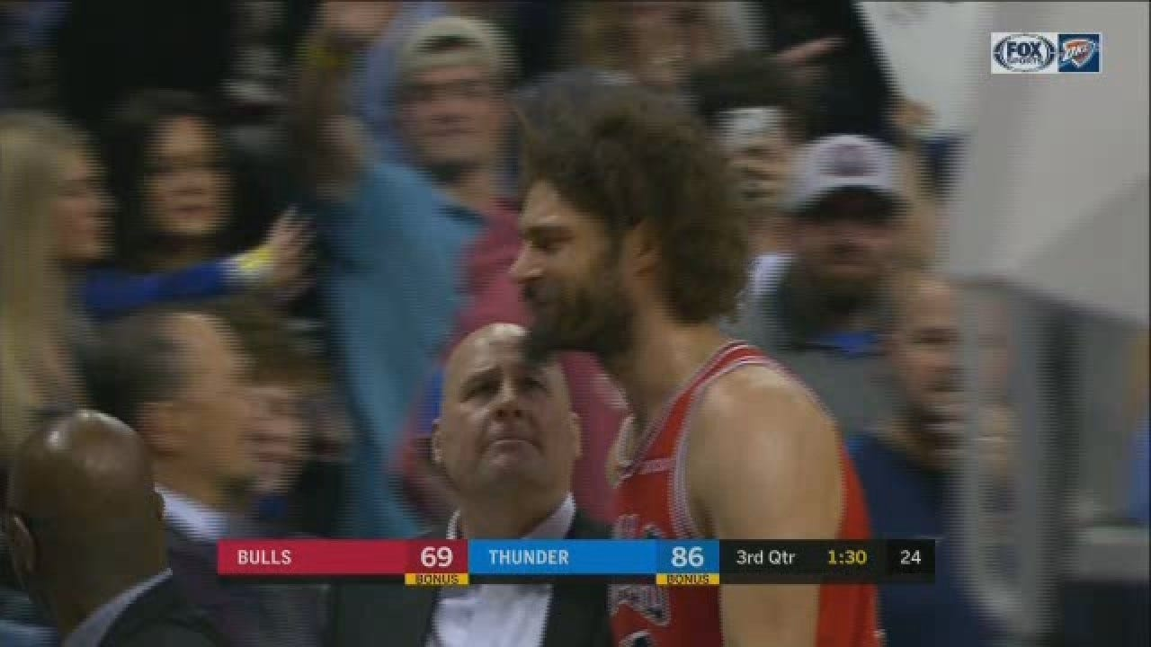 Young Thunder Fan Tries To Fake Out Bulls' Lopez With High-Five