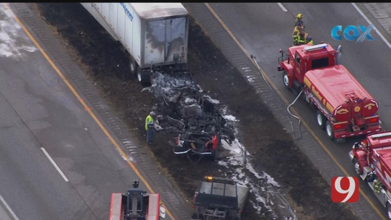 Raw Video: I-35 Multi-Car Collision In Goldsby