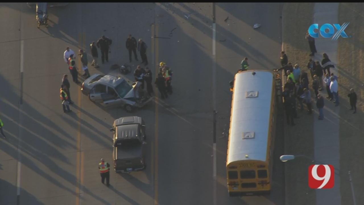 Injuries Were Reported In A Mustang Crash Involving A School Bus