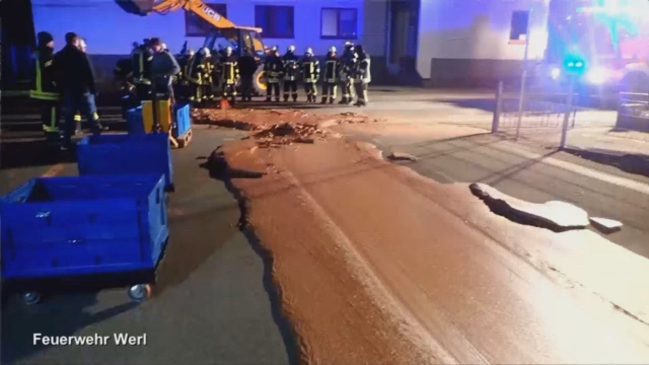 Firefighters Work To Clean Up Liquid Chocolate Spill