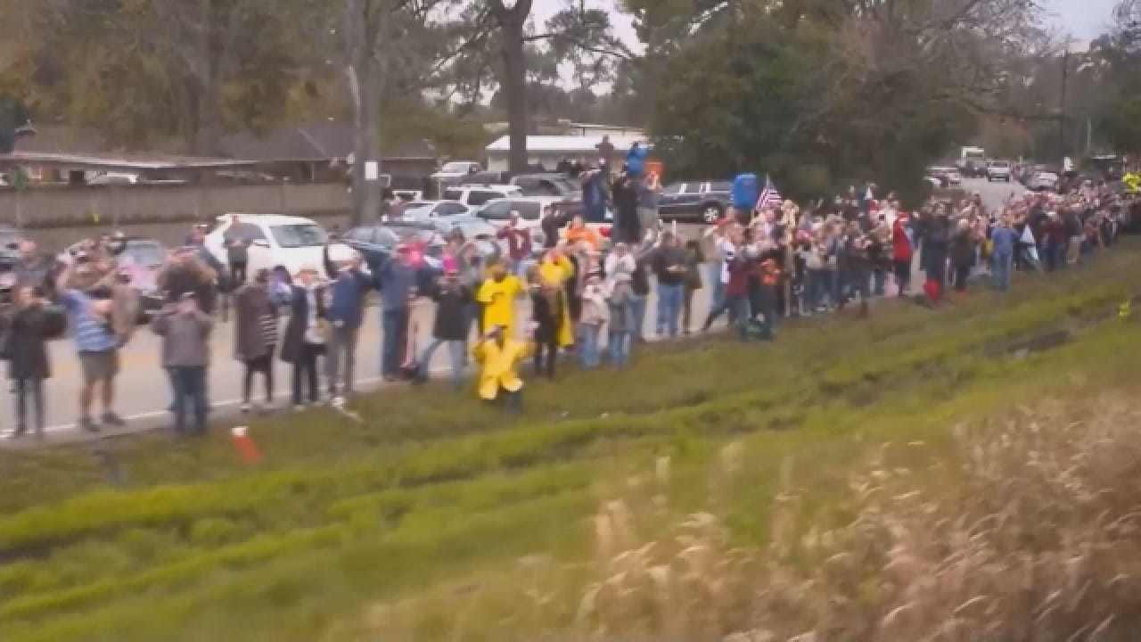 Crowds Gather To Wave Goodbye To President Bush As Train Rolls By