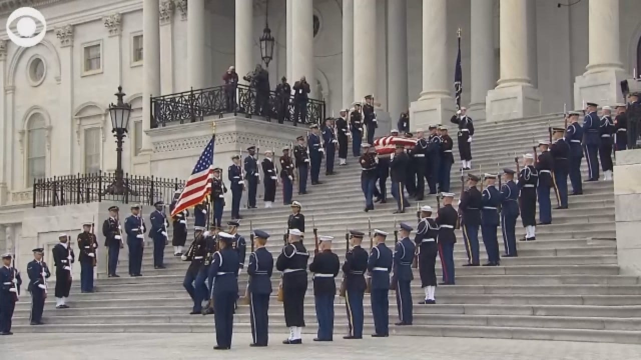 President HW Bush's Casket Leaves The U.S. Capitol
