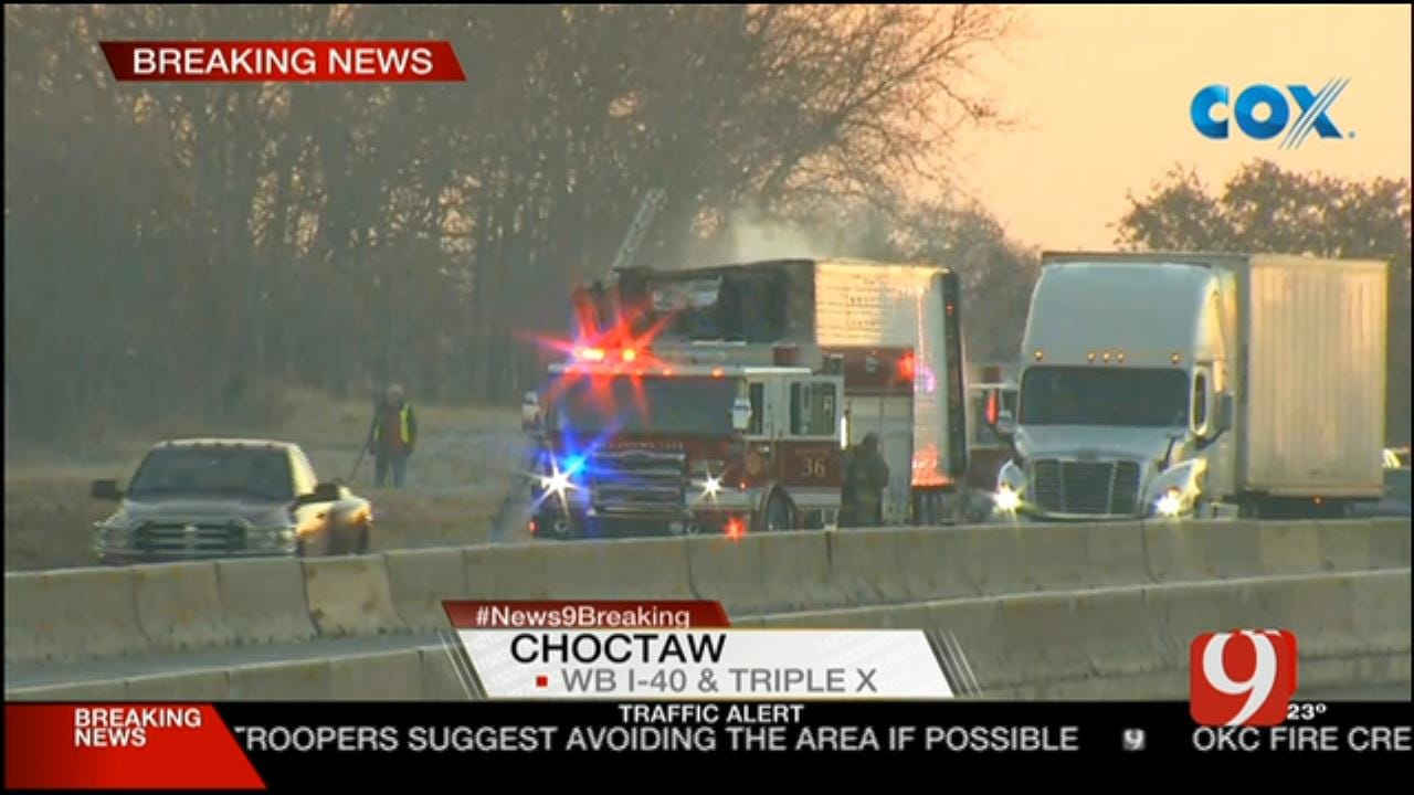 Environmental Crews Clean Up After Semi Fire On I-40