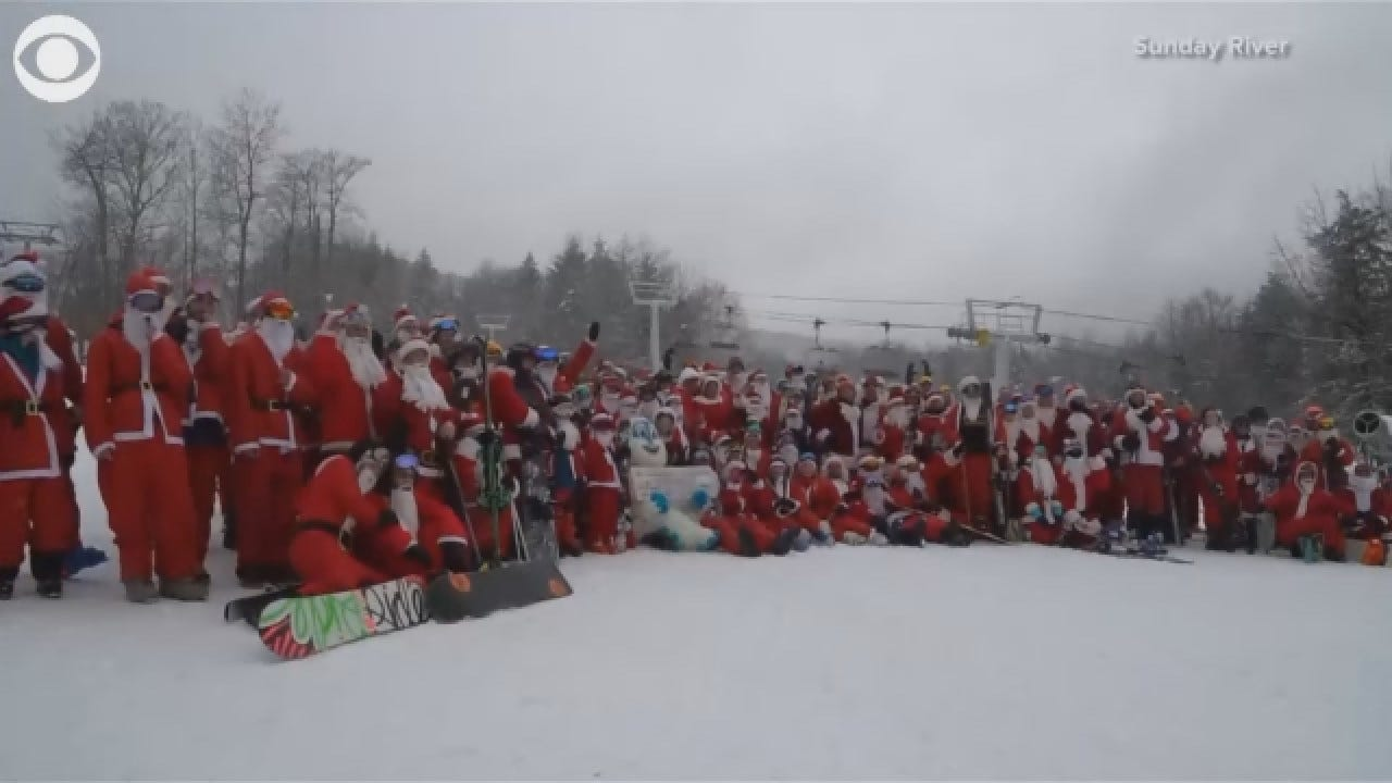 More Than 200 Santas Skied In Maine Charity Event